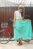 turquoise blue maxi skirt - camel hat - yellow Forever 21 belt