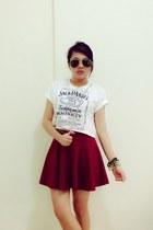 brick red skater skirt skirt - white cropped top top