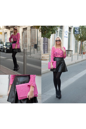 faux leather new look skirt - calvin klein bag - Christian Louboutin heels