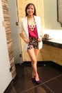 Ivory-coat-black-shorts-magenta-top-deep-purple-wedges