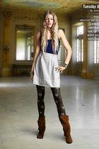 Boomerang skirt - Topshop top - Sneaky fox tights - balenciaga boots - belt