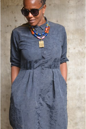 MY PEACE of JEWELRY necklace - navy a-line dress the gap dress