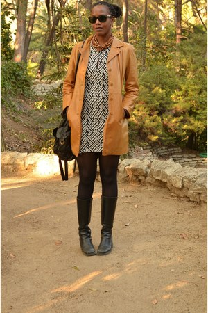 bronze jacket - knee high thrifted boots - Urban Outfitters dress