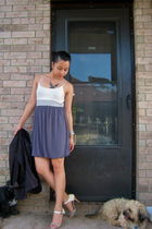 gray no tag dress - silver Target necklace - white Charles & Keith shoes - black