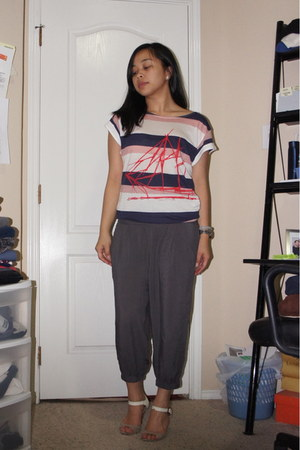 charcoal gray harem pants Forever 21 pants - white calvin klein top