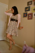 pink Gap cardigan - brown Old Navy belt - beige H&M dress - beige shoes - white