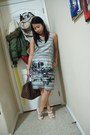Heather-gray-banana-republic-dress-dark-brown-louis-vuitton-purse