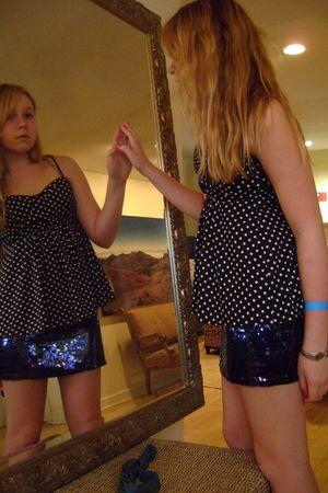 blue pink skirt