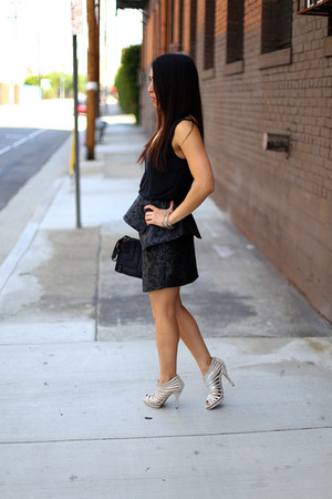 black peplum origami keepsake skirt - black quilted clutch linea pelle bag