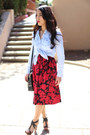 Ruby-red-floral-print-tibi-dress-light-blue-chambray-banana-republic-shirt