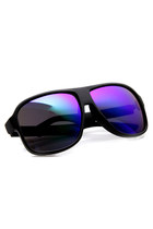 RETRO LARGE ACTION SPORTS MATTE BLACK SQUARE AVIATOR MIRRORED REVO LENS SUNGLASS