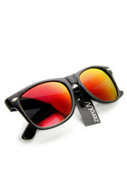 FLAT MATTE BLACK FLASH REVO POLARIZED LENS HORNED RIM SUNGLASSES 8030