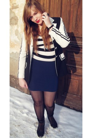 black Orsay jacket - white striped Zoul blouse - navy skin-tight Amisu skirt