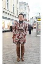 Steve Madden boots - red or dead coat - River Island leggings - Aldo bag