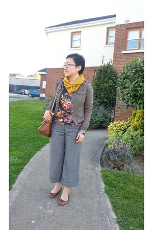 DIY scarf - Primark jacket - Aldo bag - new look flats - Dorothy Perkins pants