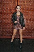 hot pink Wetseal dress - black UO jacket - black sam edelman boots