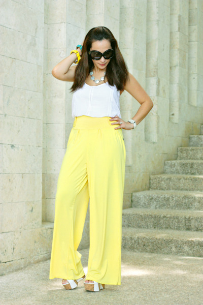 c6e428a70f8 white Bebe wedges - black Tom Ford sunglasses - yellow bought online pants