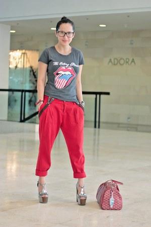 charcoal gray ebaycom shirt - red Zara pants - silver Jessica Simpson shoes