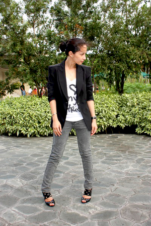 Zara blazer - random from Hong Kong jeans - DIY shoes - Forever21 top