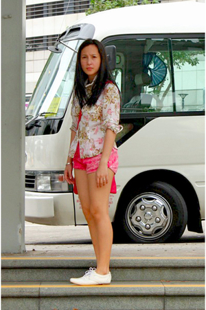 MaxMara blouse - American Apparel shorts - random from Hong Kong shoes