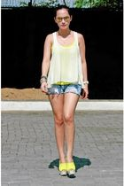 bazaar find top - Topshop shoes - UO shorts - random from Hong Kong accessories