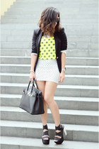 black Zara blazer - white Bershka skirt - chartreuse Forever 21 top