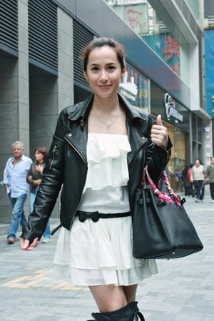 black Jeffrey Campbell boots - white Glitterati dress - black UO jacket