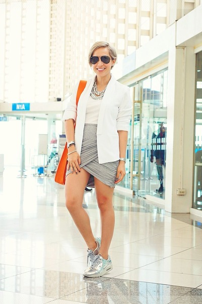 silver UO skirt