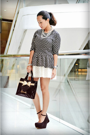 Asian Vogue wedges - Harrods bag - Forever 21 skirt - Wardrobe Check top
