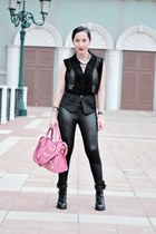 black Loveculturemultiplycom blouse - black asos leggings - black Ebay boots - s