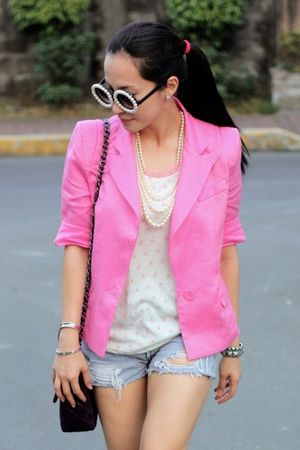 UO shorts - random from Hong Kong blazer - Chanel bag - ployy sunglasses