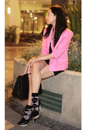 random from Hong Kong blazer - UO dress - Jessica Simpson shoes - random from Ho