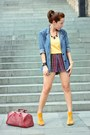 Blue-wet-seal-blazer-red-uo-shorts-mustard-uo-top-mustard-urbanog-heels