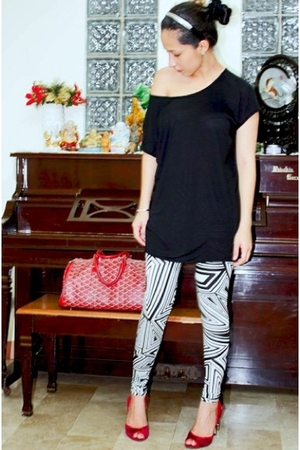 Mango top - Forever21 leggings - goyard purse - janilyn shoes
