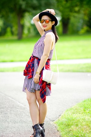 chiffon checked tildon dress