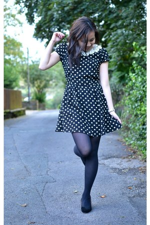 black Dorothy Perkins dress - black kitten heels vintage heels
