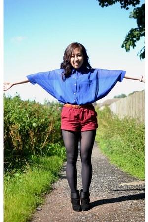 blue batwing chiffon romwe shirt - black Firetrap boots