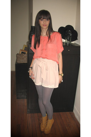 Jeffrey Campbell boots - H&M shorts - coral top H&M top