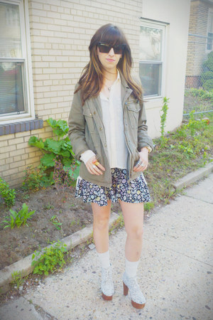 purple H&M dress - army green JCrew jacket - ivory Yesstyle blouse - white ford