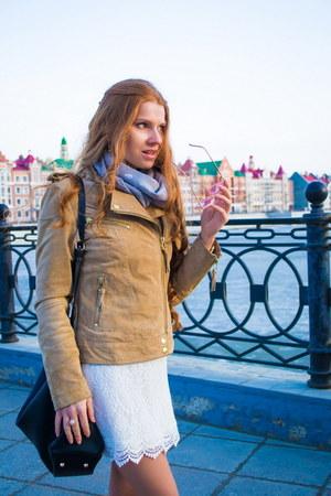 tan Mango jacket - white H&M dress - black Zara bag