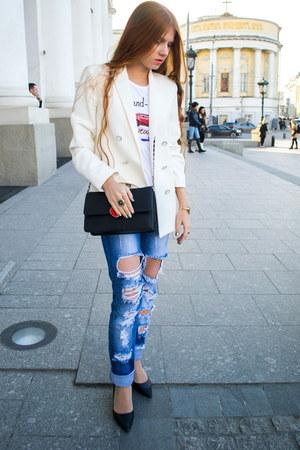 black Charles & Keith bag - light blue AMN jeans - white Mango blazer