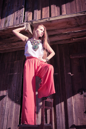 white Ostin top - coral Mango pants - teal Kurzeneva necklace