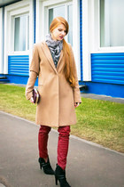 black Carnaby boots - tan Mango coat - maroon Zarina bag - black Zarina blouse