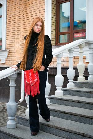 fringe Mango bag - asos boots - Zarina jacket - flared Mango pants