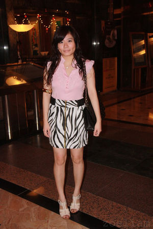 pink Forever 21 top - white skirt - beige shoes - black Chanel purse - gold acce