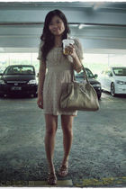beige dress - beige dior purse - beige shoes