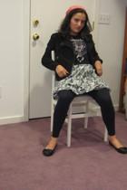 black Target leggings - gray Zara skirt - silver vintage necklace - black Zara j