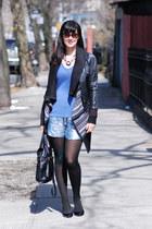 sequin shorts - lucite alexis bittar necklace - black patent ann taylor pumps