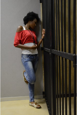jeans - ruby red top