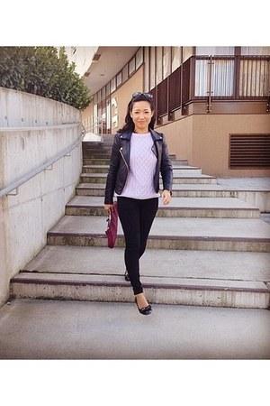 periwinkle Zara jeans - Mango jacket - black Zara sweater